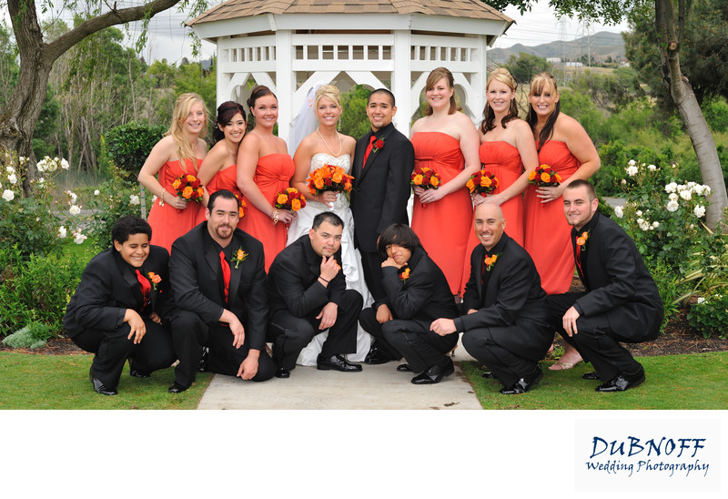 Fun wedding party picture by the Gazebo at the Conta Costa Country Club in Pleasant Hill