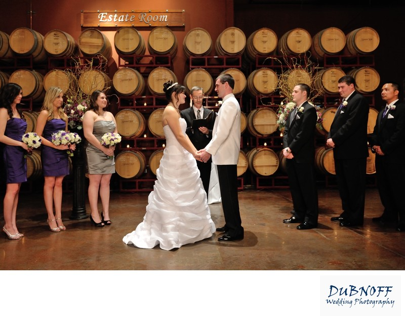Palm Event Center Wedding Photography in the Barrel Room