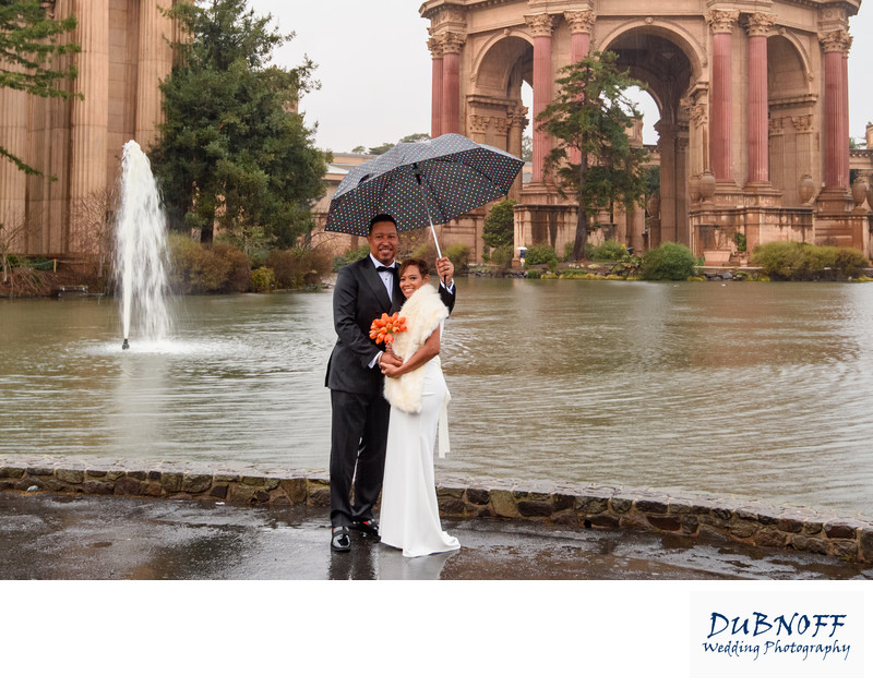 Palace of Fine Arts in the rain - San Francisco City Hall Wedding Photographer