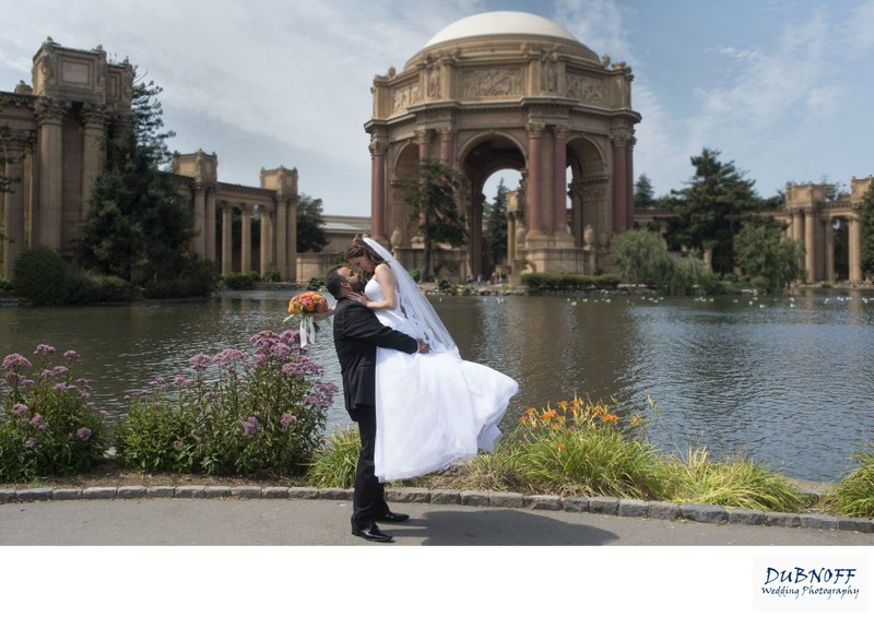 San Francisco's Palace of Fine Arts - Groom lifts Bride!