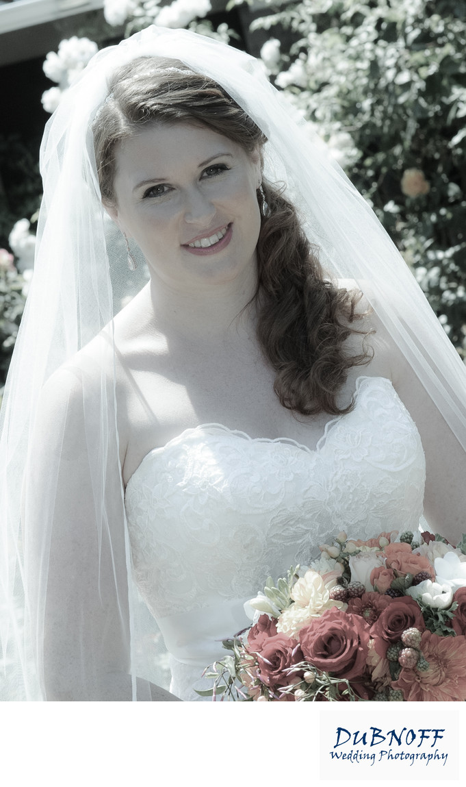 Lovely Bride with Flowers in the San Francisco Bay Area