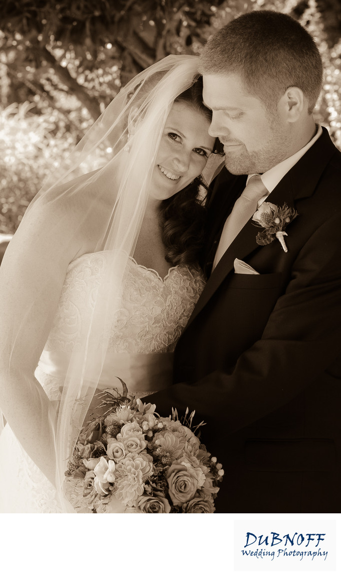 lovely wedding couple in Sepia Tone Photography