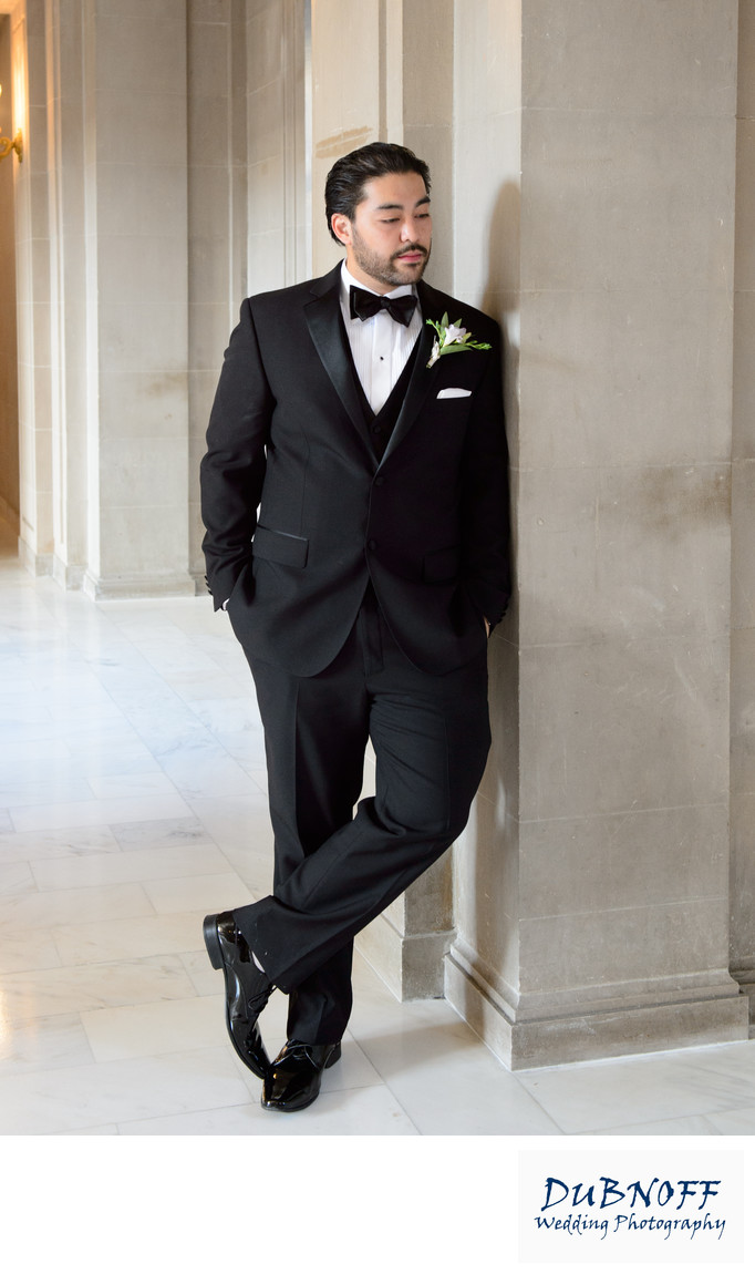 Handsome Casual Groom Posing at San Francisco City Hall