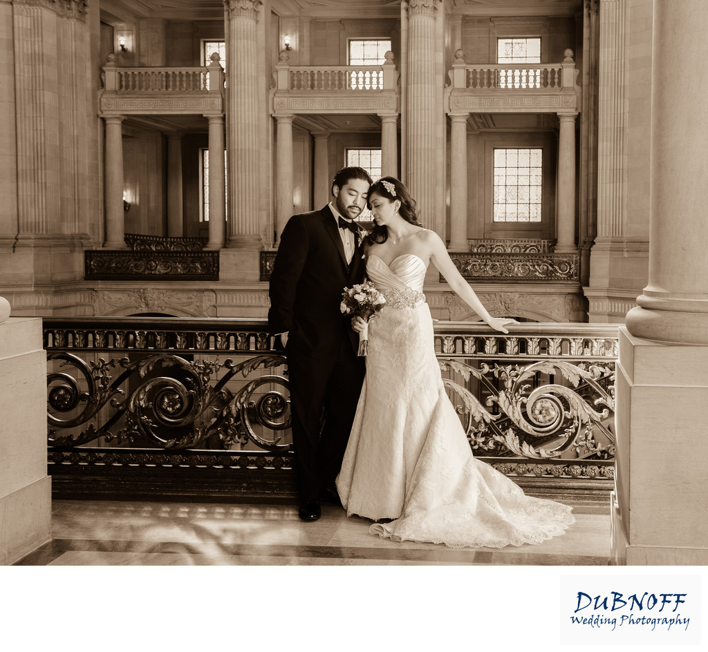 SF City Hall sepia photo with romantic posing