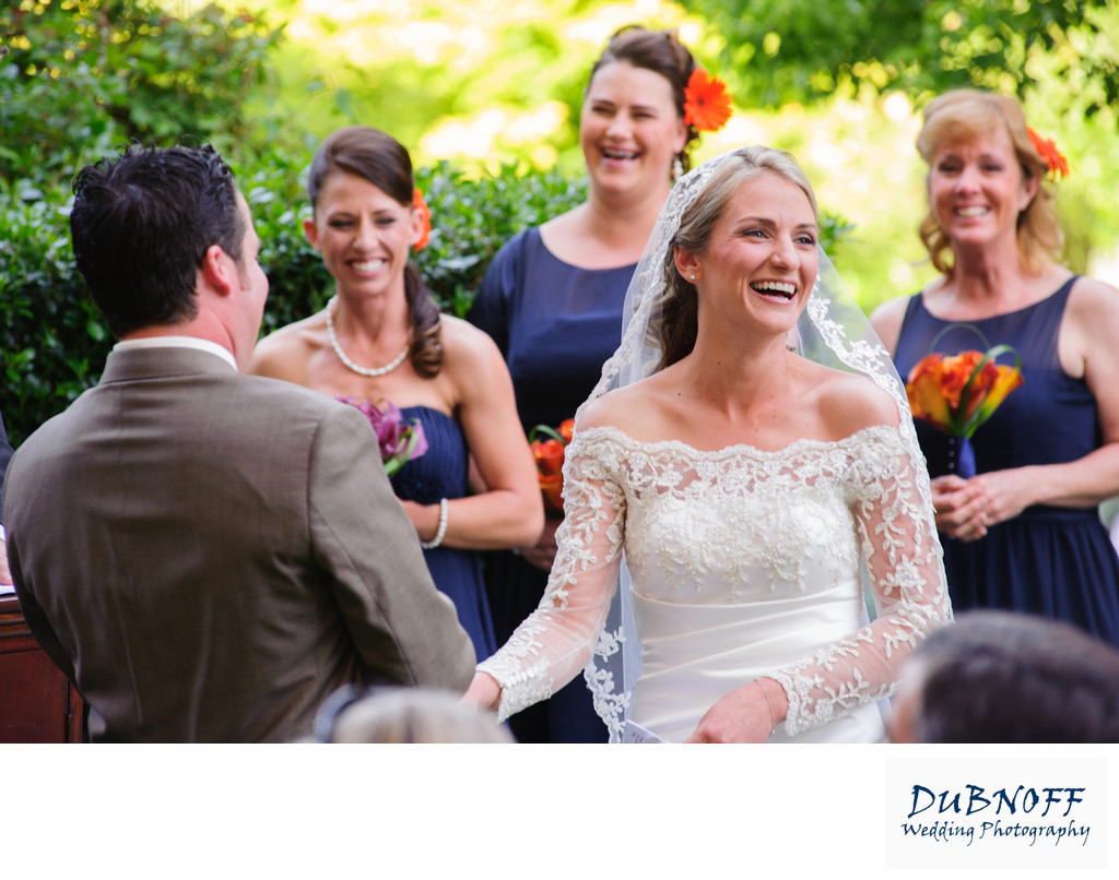Candid Ceremony Wedding Photography Bride Laughing in San Francisco