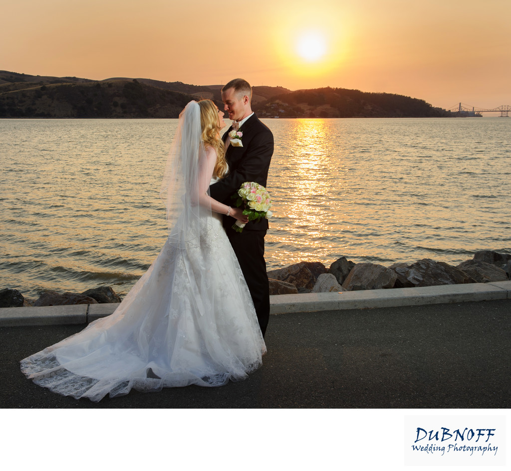 Benicia sunset wedding photography on the beach