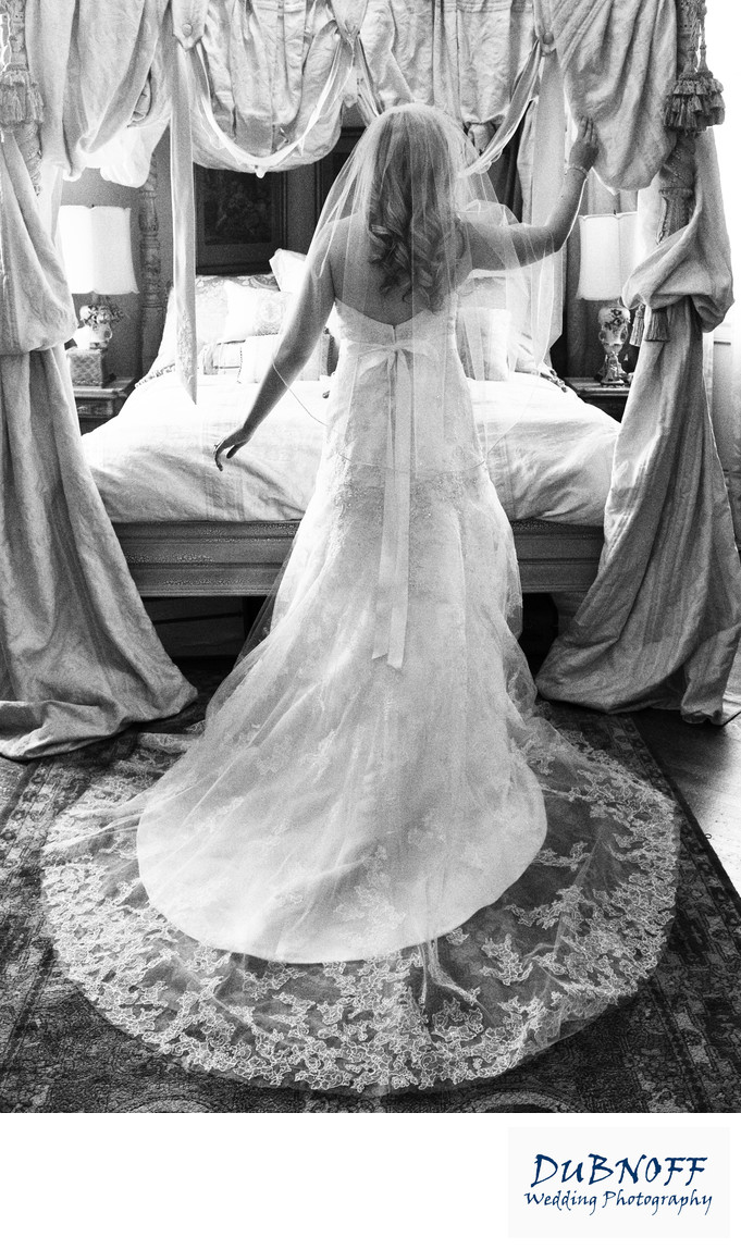 bride in grand room posing in her wedding dress