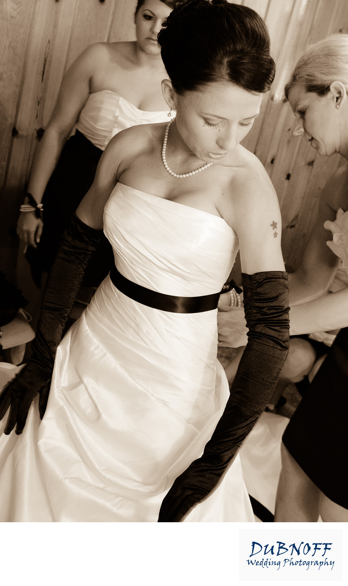stunning bride in sepia