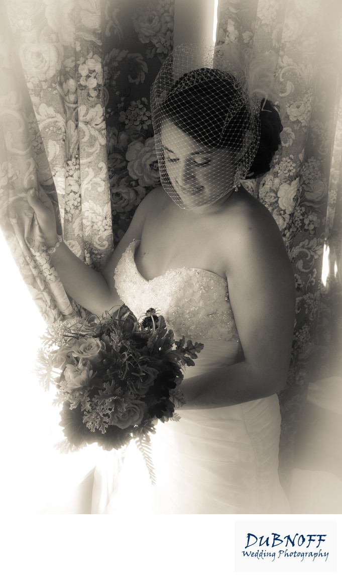 Black and White Image of Bride  at the Berkeley City Club