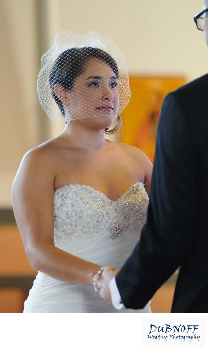 Wedding Photography Capturing Bride with tears during  church ceremony