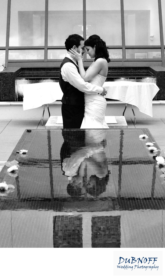black and white marriage reflection