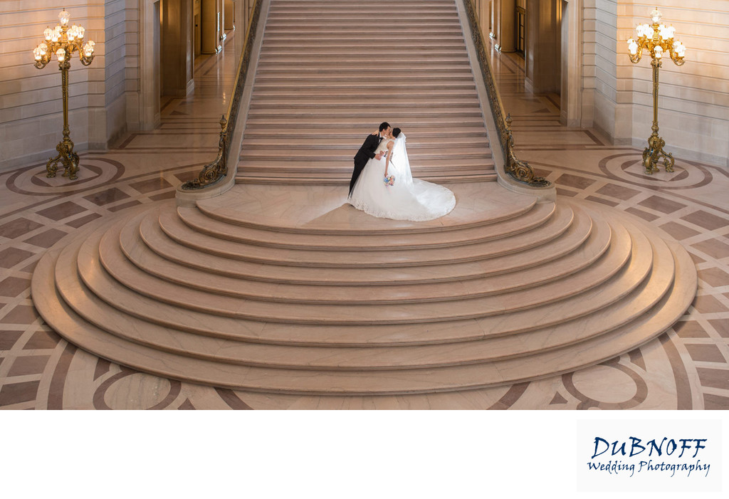 San Francisco City Hall Grand Staircase Wedding Image
