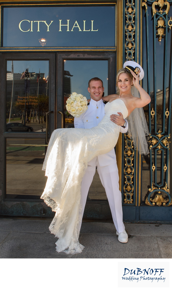Officer Gentleman Wedding Photo at SF City Hall