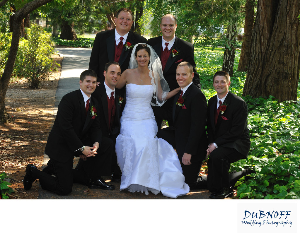 Walnut Creek Bride Posing with the Guys at Saint Mary's College