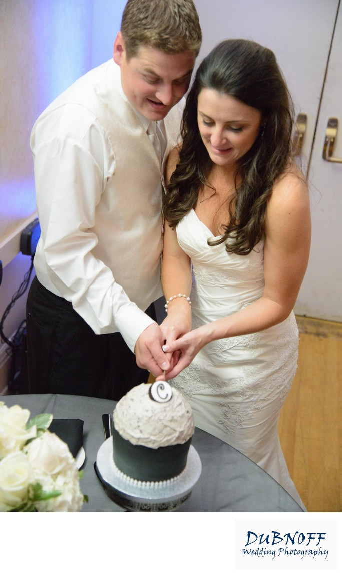 bride and Groom cut the wedding cake at Reception