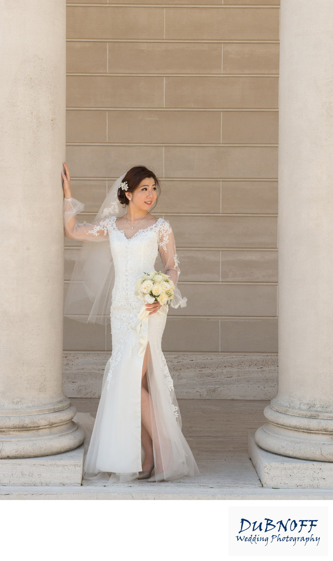 bride looking away at legion of honor