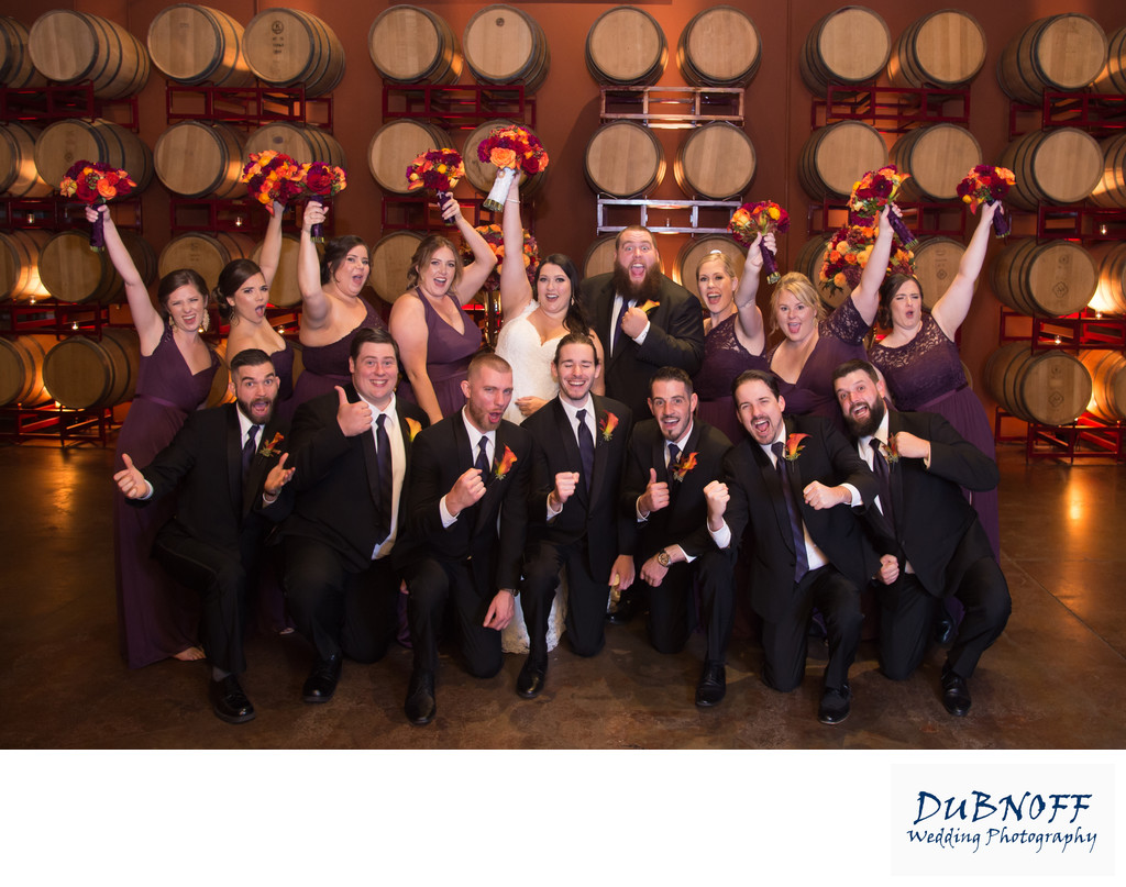 Fun Wedding Party Photography in a Livermore Valley Wine Cellar