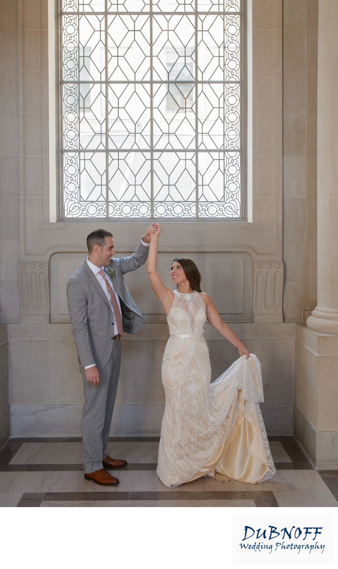 San Francisco City Hall Wedding Photographers - Bride Spin