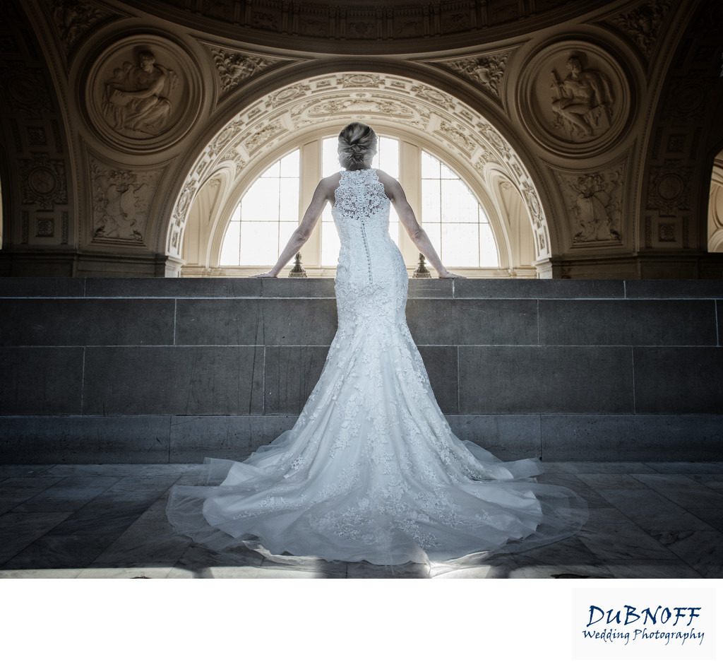 San Francisco City Hall Wedding Photographers - Back of Dress