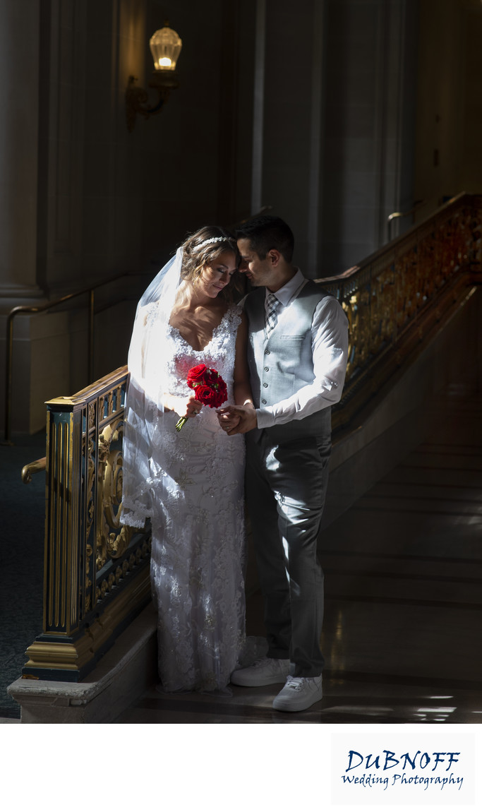 San Francisco City Hall Wedding Photographer - Dramatic Light