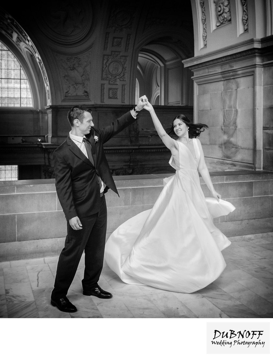 San Francisco City Hall Wedding Photographers - Bridal Twirl