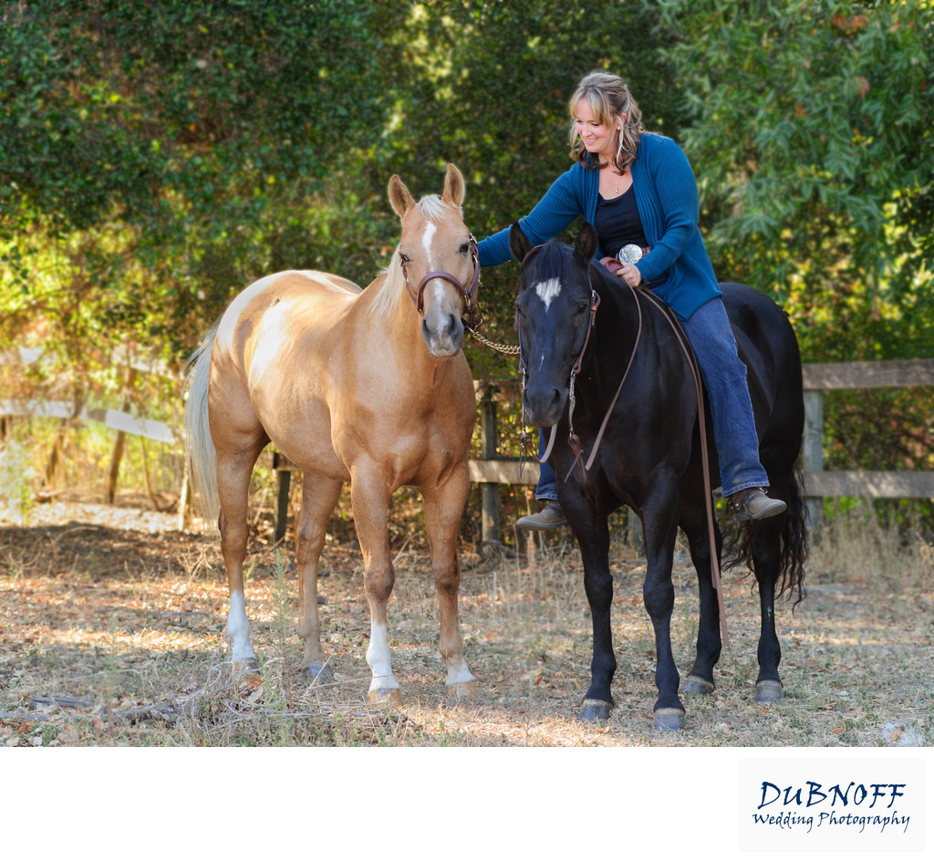 San Francisco Bay Area Woman Enjoying her 2 horses