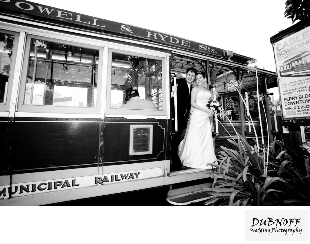 Cable Car Wedding Photography in San Francisco - Black and White