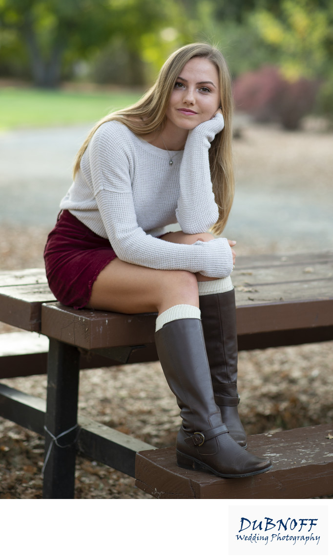 Concord California High School Senior posing on Bench