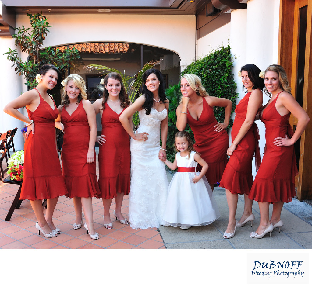Bridesmaids in Red Posing at Fort Mason in San Francisco