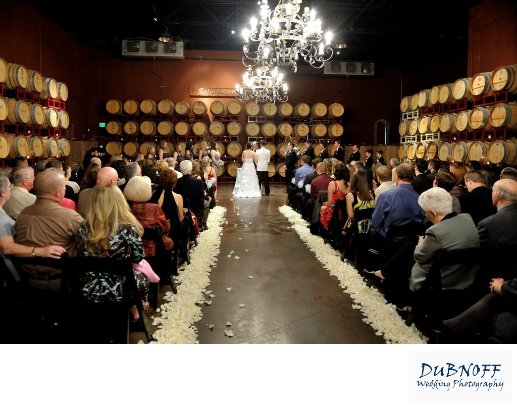Wedding Ceremony in the Palm Event Center Barrel  Room