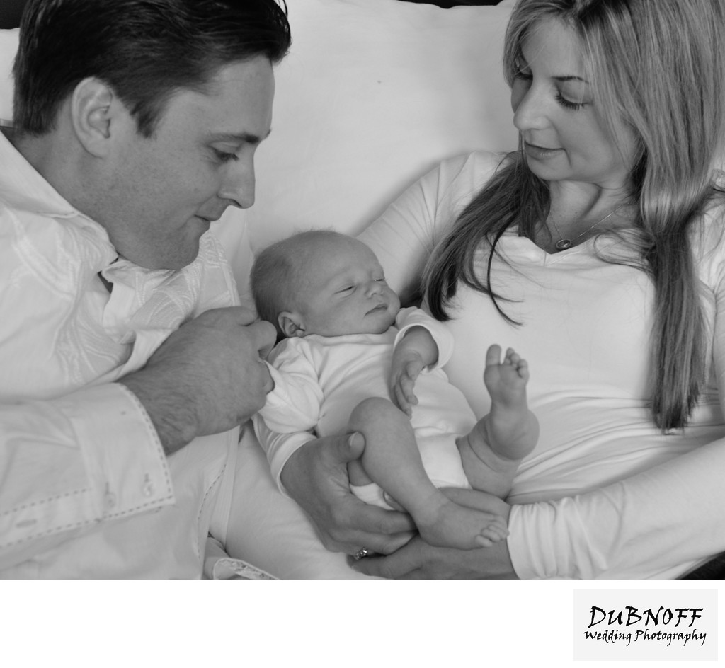 Mom and Dad with Son in Black and White.  Interactive Family Portrait.