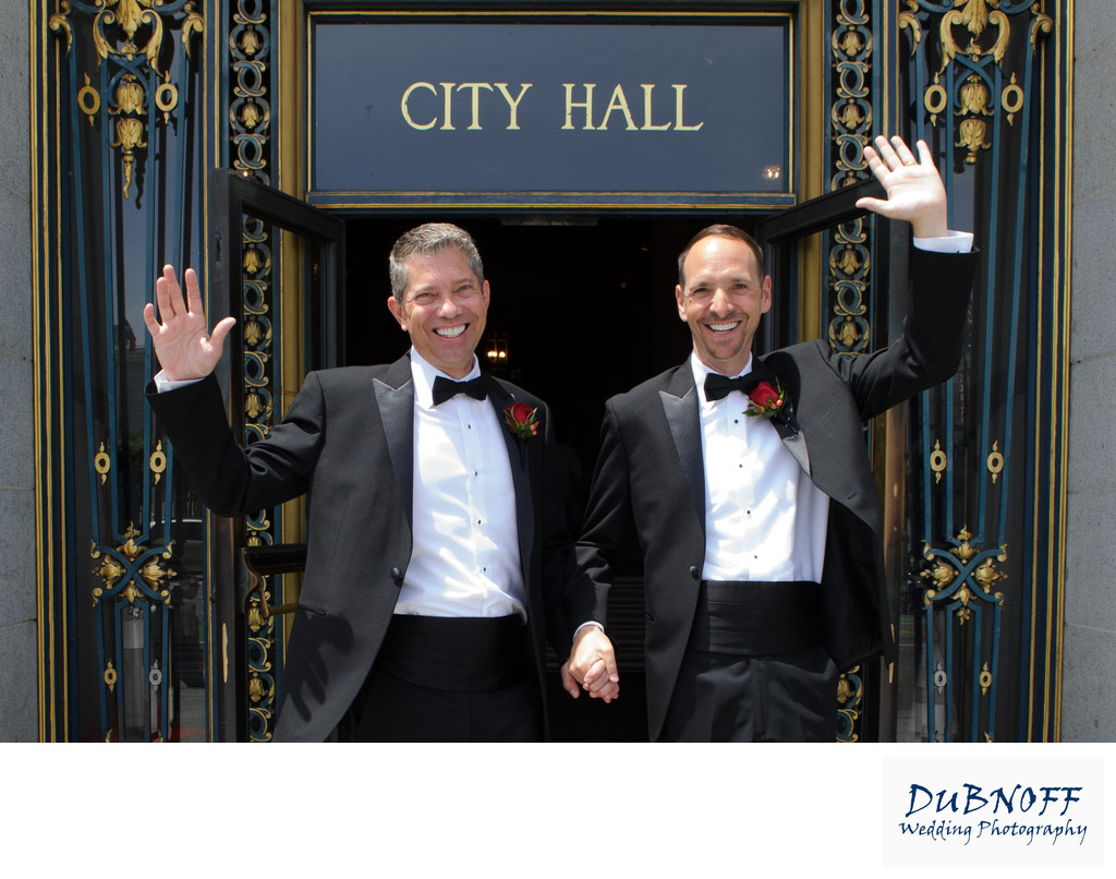 Newlywed Gay Grooms Leaving the San Francisco Courthouse