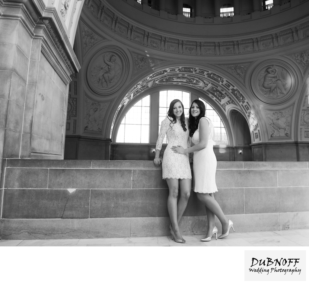LGBTQ  Brides Posing for City Hall Wedding Photography