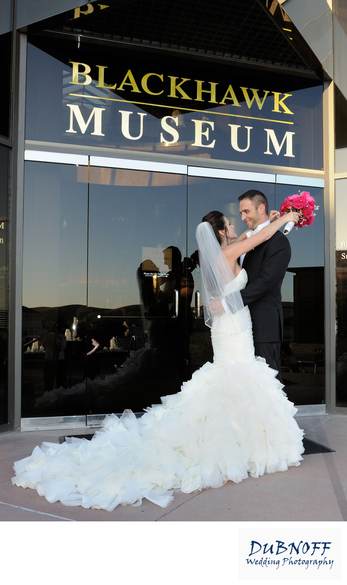 Blackhawk Auto Museum Entrance Wedding Picture
