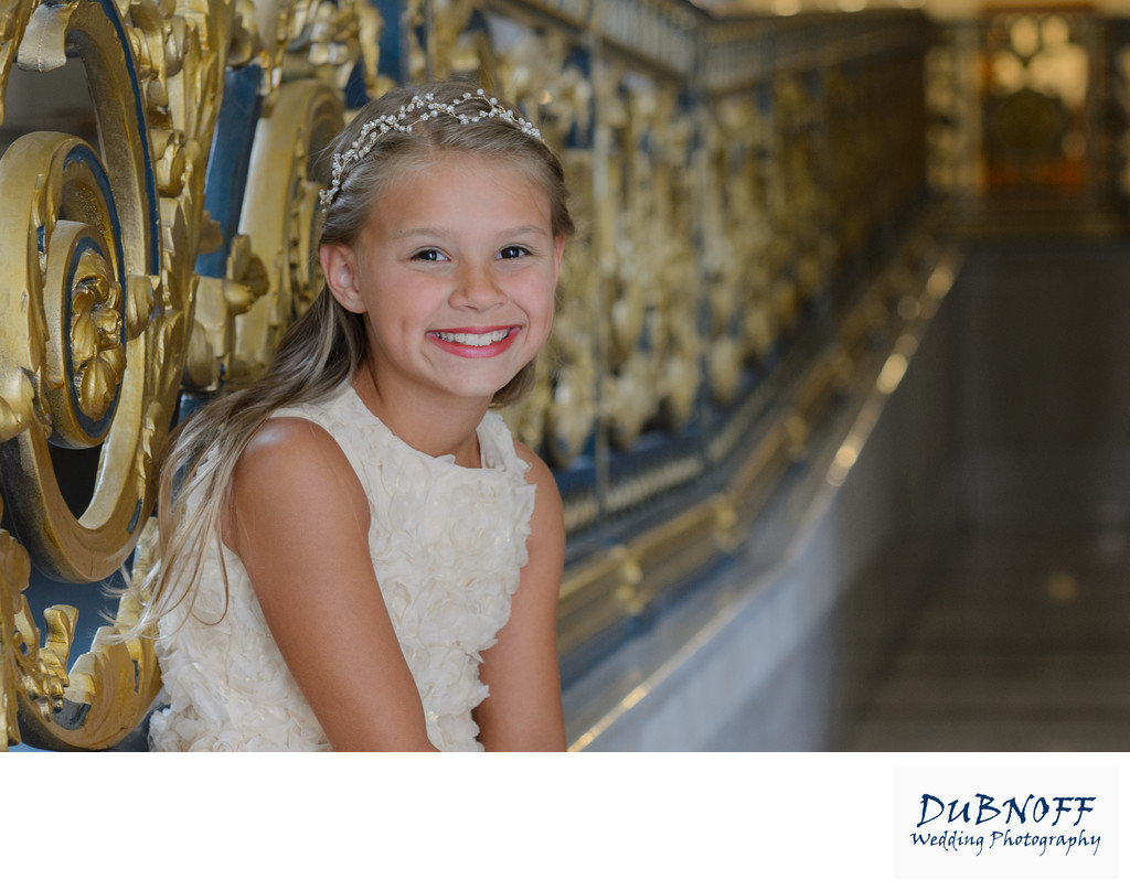 Wedding Portrait Photography of Flower Girl at City Hall