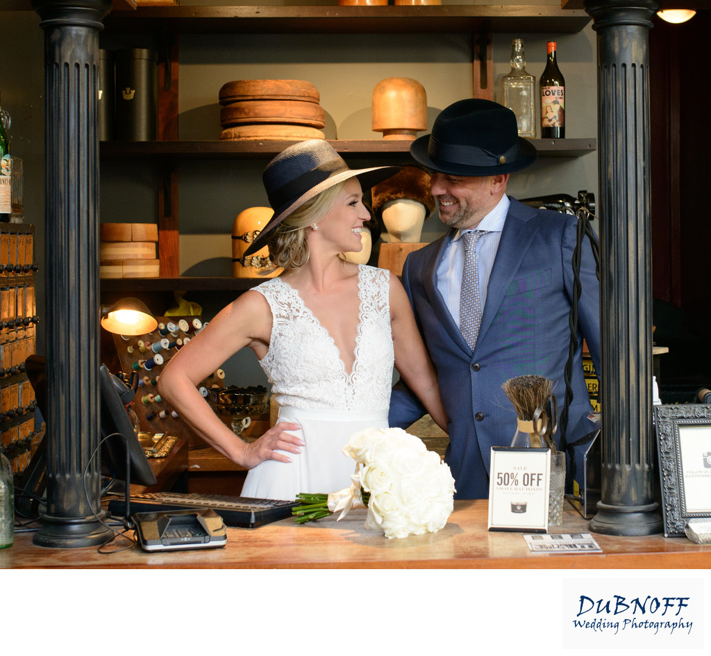 Wedding Photography of Hats in North Beach in San Francisco