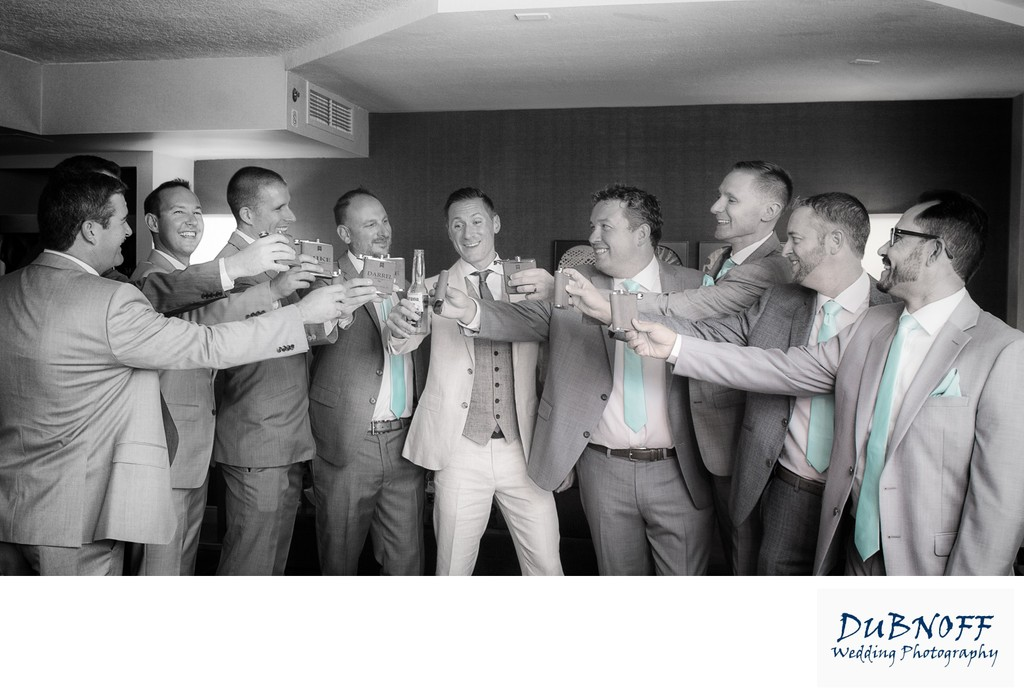 Groom and Groomsman Toasting before Wedding Ceremony in the Bay Area