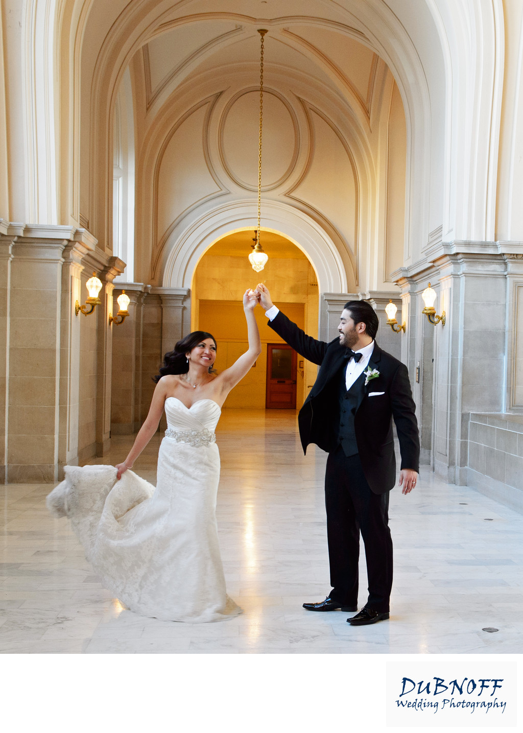 City Hall Wedding Bride Twirl on the 4th Floor