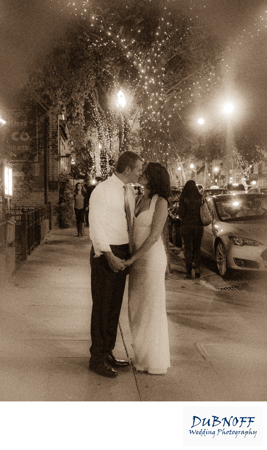 Downtown Wedding in Walnut Creek, CA in the Evening