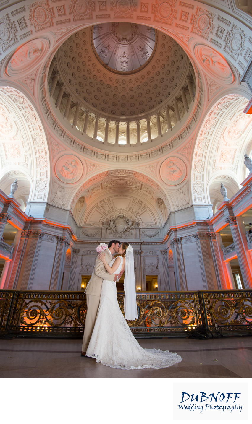 San Francisco City Hall Wedding Photographers - Fish Eye Balcony