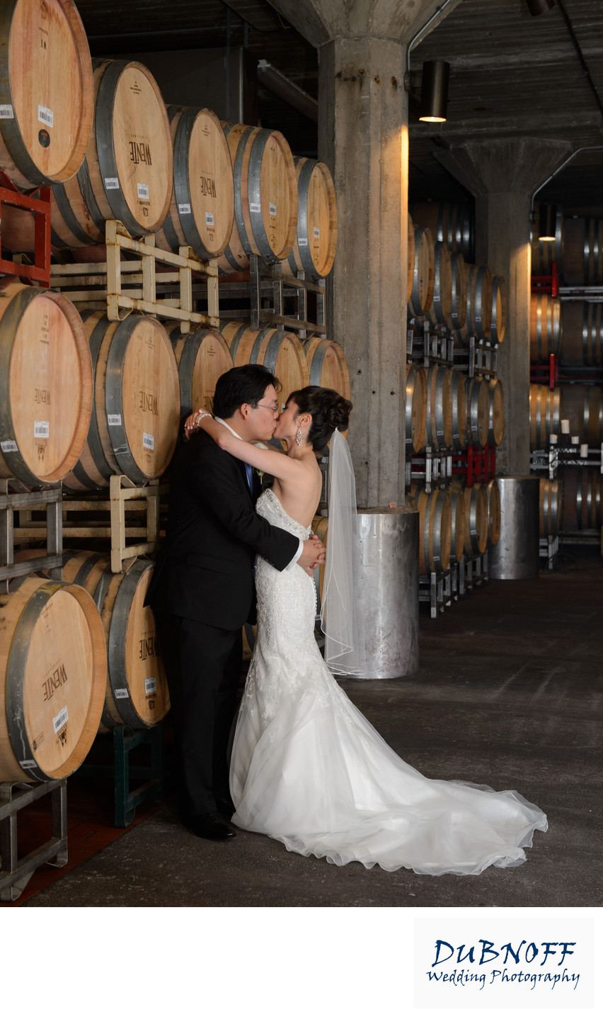 Wedding Photography in the Cellar Room at Wente Winery