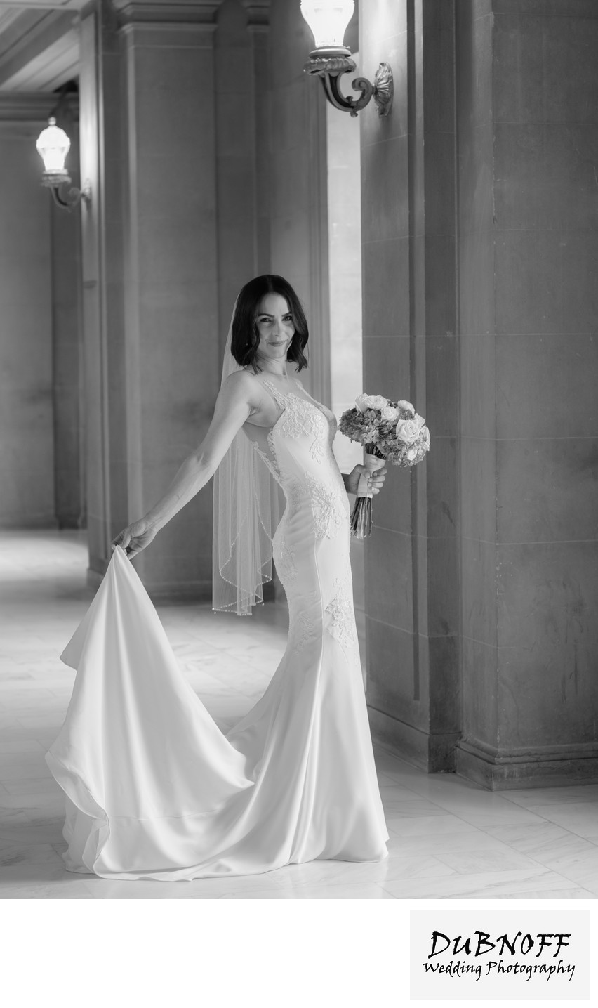 San Francisco City Hall Wedding Photographers - Bride with Train