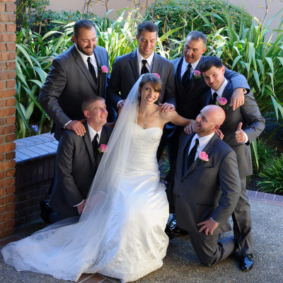 bride with groomsmen at Blackhawk Country Club Wedding