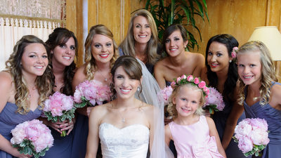 pink flowers bridal party