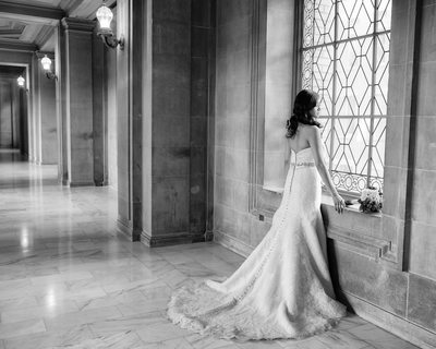 window bride in San Francisco, Bay Area at City Hall