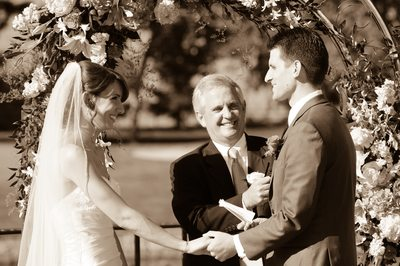 Marriage Ceremony at Blackhawk Country Club in Sepia Tone