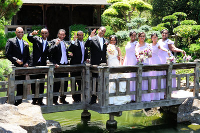 Wedding Party on the Bridge over Pond in Fremont, CA