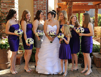 Purple Bridesmaids dresses standing out nicely at this Pleasanton Wedding Venue.