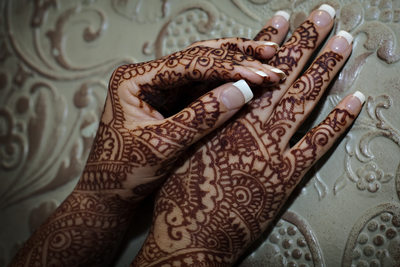 Close up of Henna on San Francisco Indian  Wedding Bride