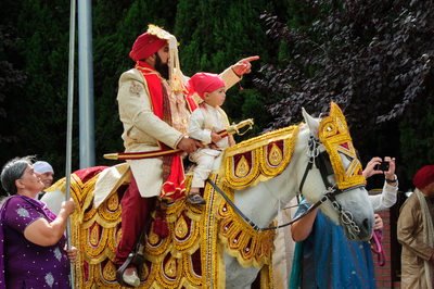 Indian Groom Riding in on a Horse for Baraat Ceremony  in the Bay Area